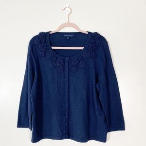 Boden Navy Floral Button Front cashmere Cardigan